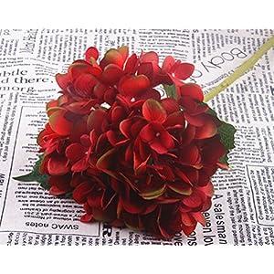 YJBear Silk Artificial Burgundy Hydrangeas Flower for Office Decor Home Decoration Washable DIY Flowers for Wedding Bouquets Party(1 Flower) 73