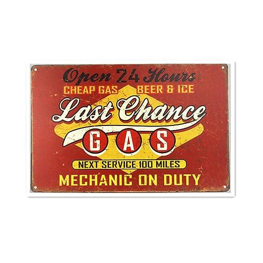 Last Chance Gas Station Póster De Pared Metal Retro Placa ...