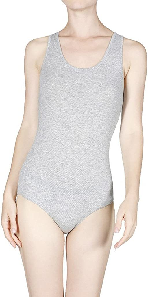 Women /& Juniors Solid Cotton Sleeveless Scoop Neck Racerback Thin Bodysuit Leotard with Snap Crotch Bottom