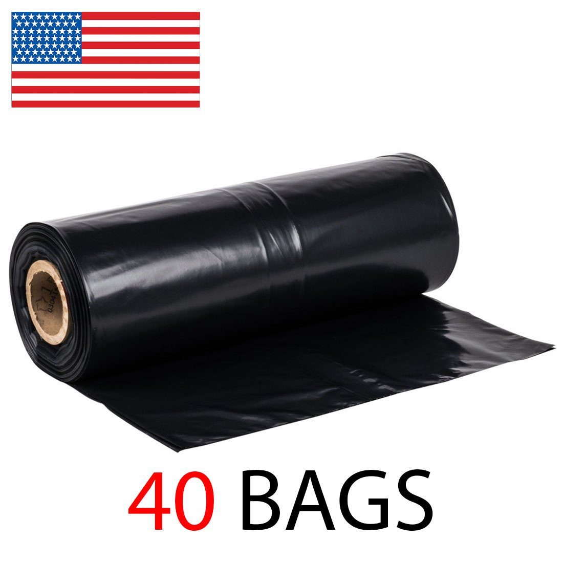 42 Gallon Extra Heavy Duty Contractor Garbage Bags Roll, 3MIL Thick, 40 Bags on Roll, Puncture-Resistant, MADE IN USA, 37 X 43 by Ox Plastics