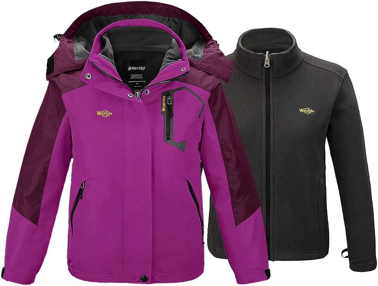 Wantdo Girls 3 in 1 Waterproof Ski Jacket Windproof Warm Fleece Inner Hood Coat
