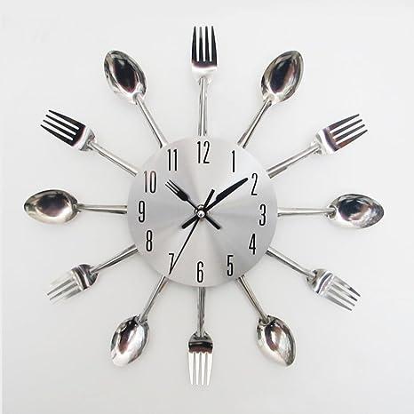 FEITONG Diseño moderno de la cuchillería de plata Utensilios de cocina del reloj de pared del