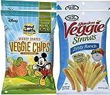 Sensible Portions Zesty Ranch Garden Veggie Straws, 7 oz & Disney Mickey Mouse Shaped Veggie Chips Children's Healthy Snacks 6.75 Oz (4)
