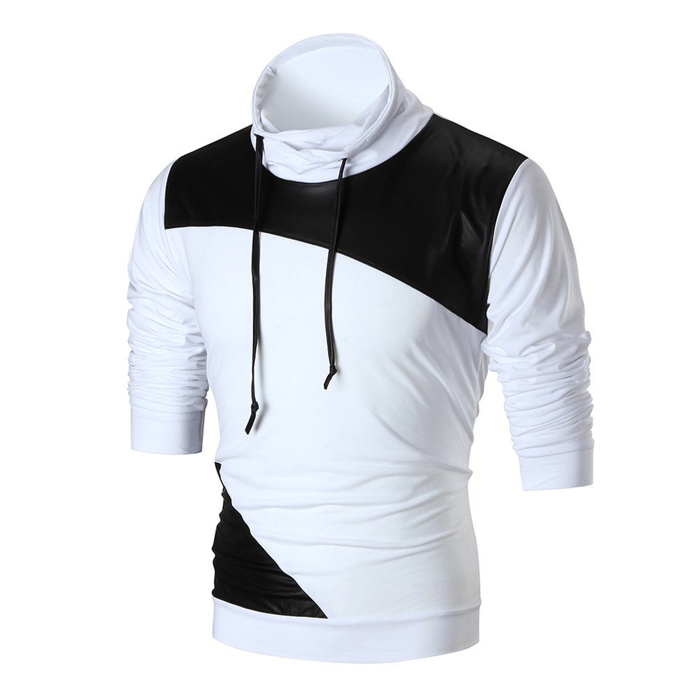 2018 Newest Mens Shirt ! Charberry Mens Stitching Skin Long Sleeve Pullover Sweatshirt Tops Outwear Blouse (US-XL/CN-L2, White) by Charberry (Image #1)