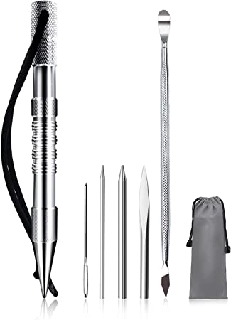 WILDAIR Marlin Spike with Stainless Steel Paracord FID Set Paracord Lacing Stitching Needles and Smoothing Tool FID with Black Marlin Spike 6 Pack