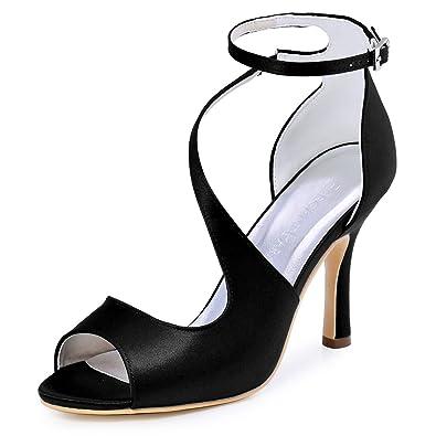 15d693b6fe52e Elegantpark HP1565 Women s Peep Toe High Heels Ankle Strap Buckle Satin  Wedding Evening Dress Sandals Black