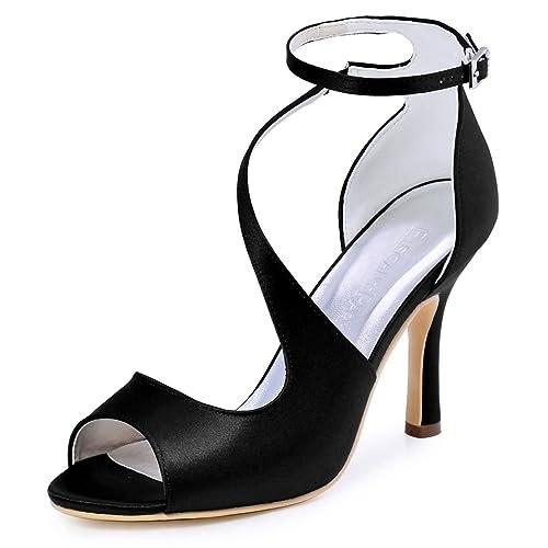 b31aa2a164 ElegantPark HP1505 Zapatos de tacón Punta abierta Rhinestones raso fiesta  zapatos de novia Mujer  Amazon.es  Zapatos y complementos