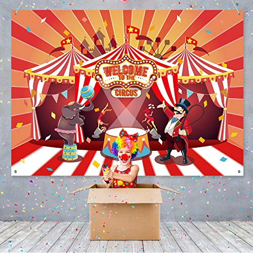 Circus Theme Party Banner Supplies Carnival Red Photography Background Circus Theme Birthday Party Photo Shoot Backdrop for Large Party Decoration ()