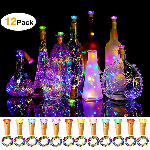 Halloween Light Displays 2019 (Murelan Wine Bottle Lights 12 Pack with Cork,Bottle Lights Diamond Cork for DIY, Party, Decor,)
