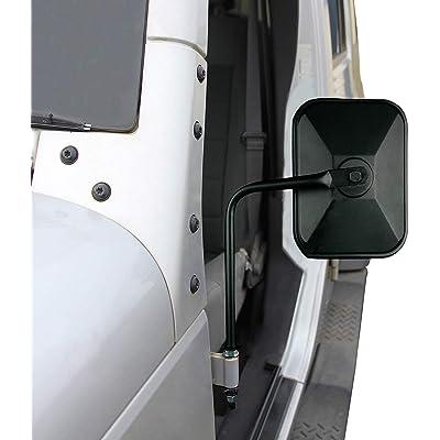 Adventure Door Hinge Mirrors Side View Shake-Proof Door Off Mirror for All Jeep Wrangler JK,JL(07-18), 2Pcs (Textured Black) (rectangle): Automotive