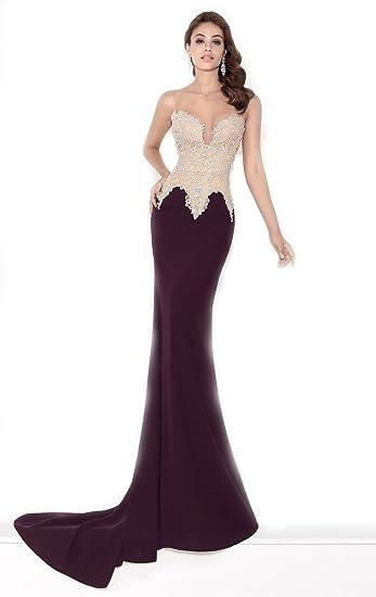 5ef2214abe239 Amazon.com: Top-Sexy Plum Beaded Lycra Crepe Gown Purple Prom ...