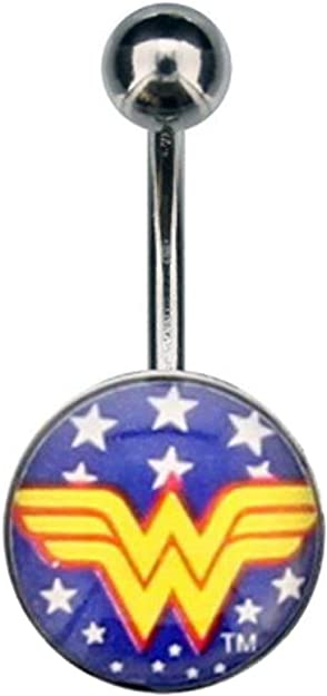 Licensed DC Comics 316L Wonder Woman Logo with White Stars 14g 7//16 Navel Ring and Fixed Charm with Gift Box