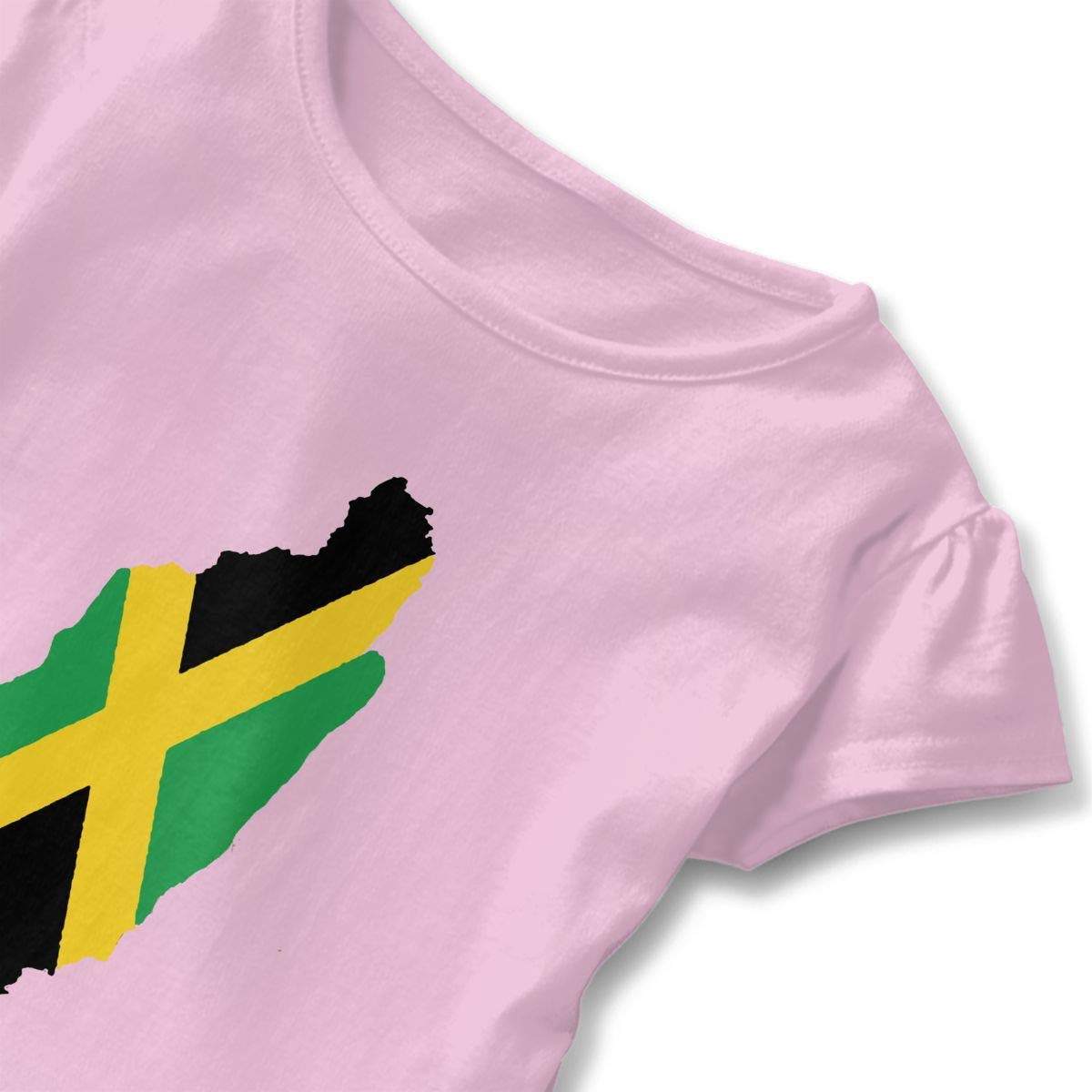QUZtww Jamaican Flag Toddler Baby Girl Basic Printed Ruffle Short Sleeve Cotton T Shirts Tops Tee Clothes Pink
