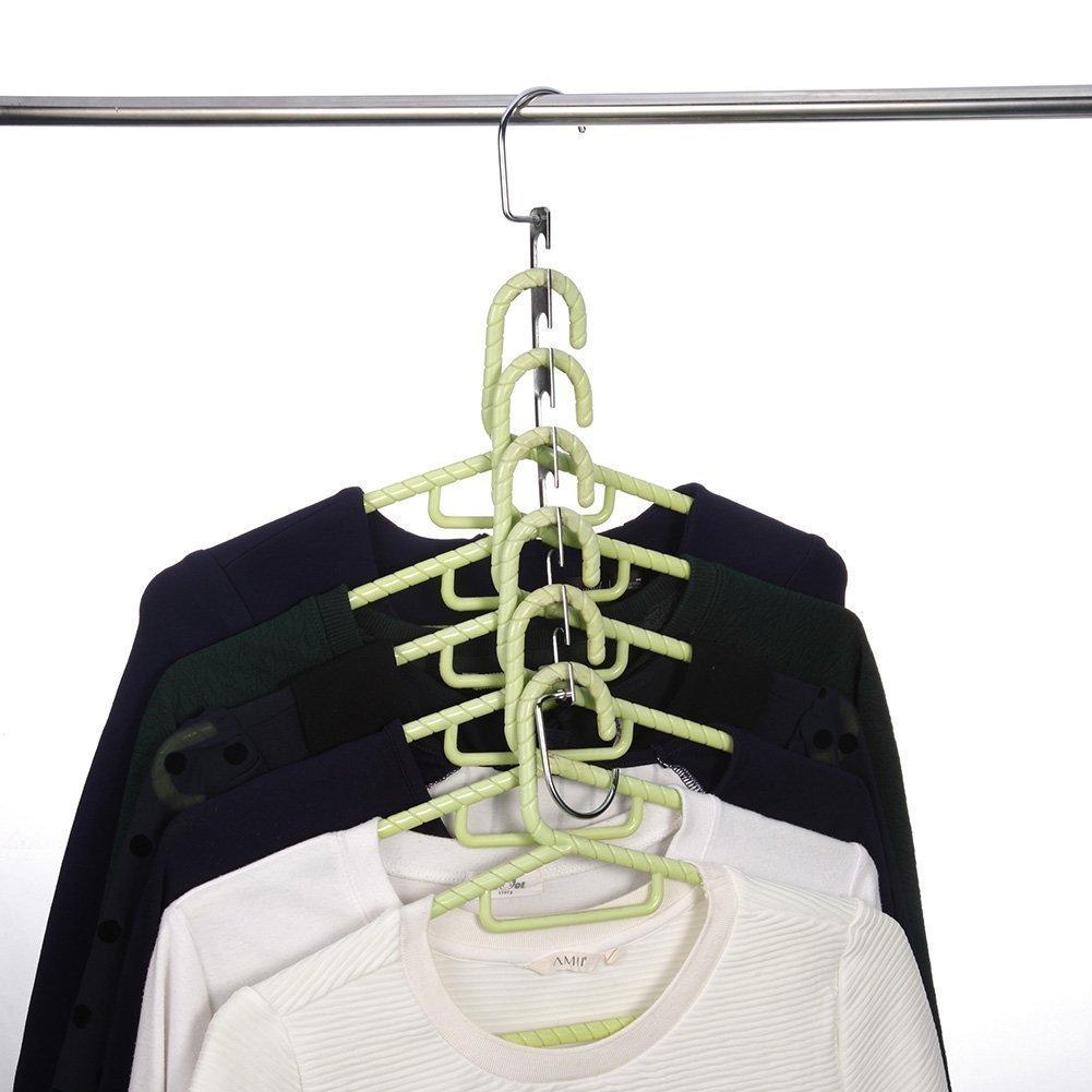TOPIND Perchas de metal de acero inoxidable para ahorrar espacio ahorro de espacio, perchas verticales para armario organizador de ropa