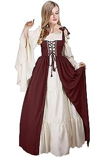 3901ef572 Amazon.com  Boho Set Medieval Irish Costume Chemise and Over Dress ...
