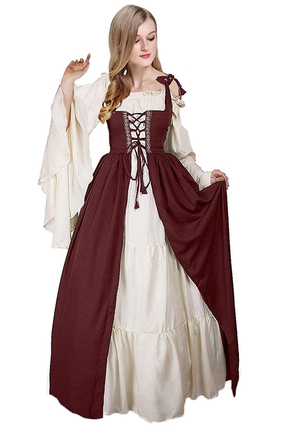 330112b2aaa Amazon.com  Newcos Boho Renaissance Costume for Women Halloween Irish  Medieval Dress  Clothing