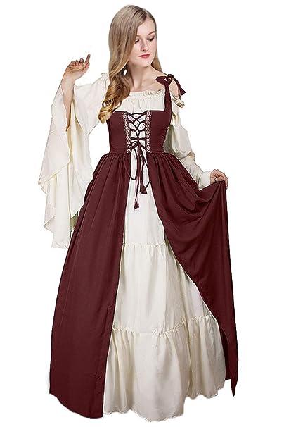 Vestido sin Hombros con Manga Abocinada Medieval Renaissance Ropa con Volantes Vintage para Mujer: Amazon.es: Ropa y accesorios