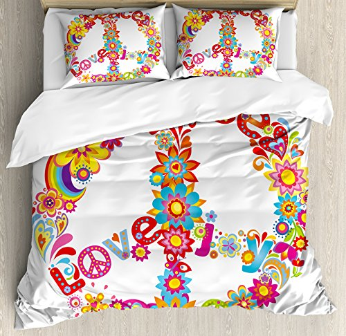 70s Party Decorations Queen Size Duvet Cover Set by Ambesonne, Peace Sign Colorful Flowers Rainbows Love and Joy Festive Composition, Decorative 3 Piece Bedding Set with 2 Pillow Shams, Multicolor by Ambesonne