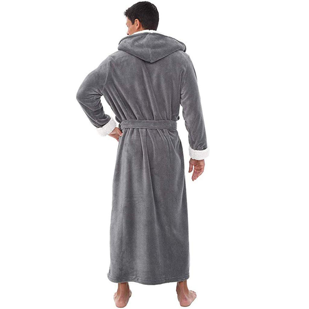 Herren Bademantel Winter Verl/ängert Pl/üsch Schal Morgenmantel Saunamantel Home Kleidung Lang/ärmelige Robe Mantel mit Kapuze