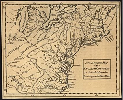 Amazon Com 1754 Map An Accurate Map Of The English Colonies In