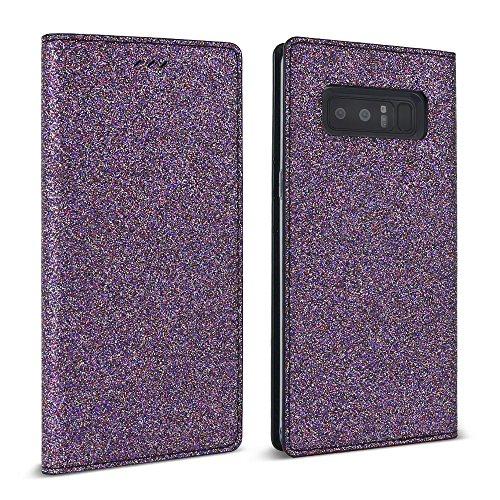 Galaxy Note 8 Case (2017), DesignSkin [Classic Basic]: Premium 100% Handmade Genuine Leather Wallet Flip Folio Unique Protective Cover Card Slot Cash Pocket Storage (Glitter - Purple) (Basic Glitter)