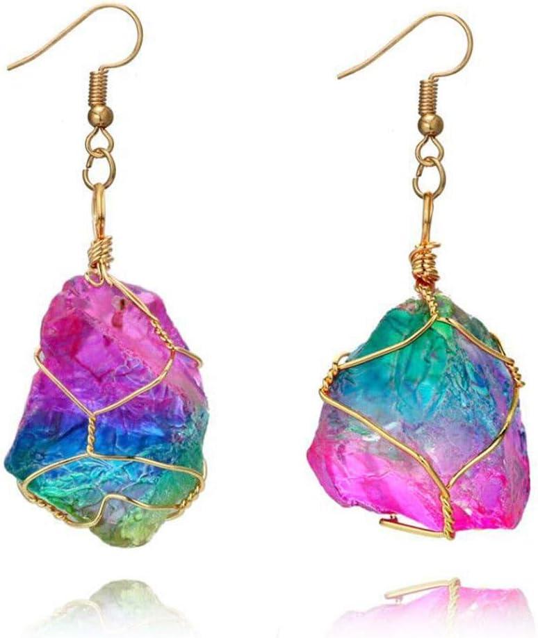Arete Cruz Arco Iris Pendientes De Piedra Cristal Natural Pendiente De Oro Cuarzo Pendiente Accesorios De Joyería Oorbellen Pendientes Bijoux Aneis