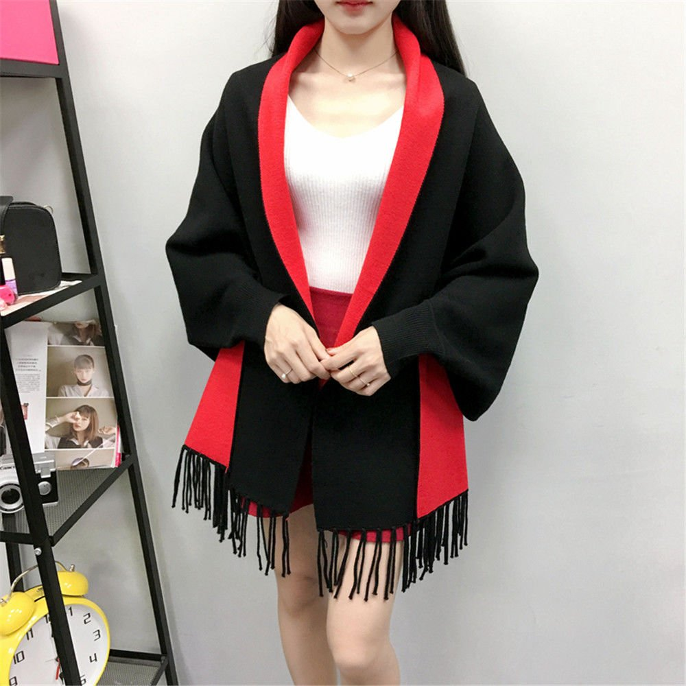 Black Red ZHANGYONG Autumn Dress Shawl Sweater 2 Female Cloak Shawls AllMatch bat Sweater Cardigan Coat can wear 80170 pounds ,Size (80170 kg can wear ),Khaki