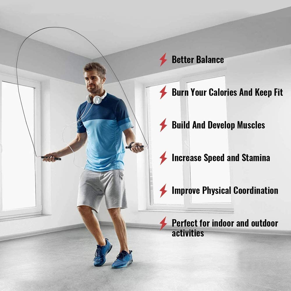 Allfourior Speed Jump Rope with Ball Bearing Adjustable /& Self-Locking Aluminum Tangle-Free Skipping Ropes Ideal for Mens and Womens Crossfit Training Boxing and MMA Workouts