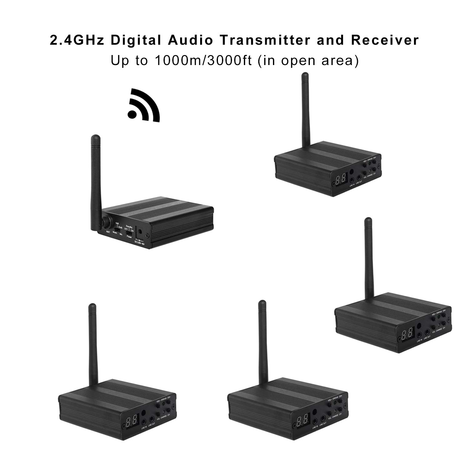 TP-WIRELESS 2.4GHz Long Range Digital Audio Transmission for TV Watching, Headphone, PC,Amplifier and Active Loudspeakers (3000ft 1 Transmitter and 4 Receiver)