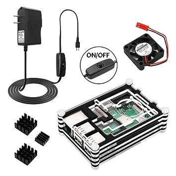 Amazon.com: HX Studio Raspberry Pi 3 B+ Funda con ventilador ...