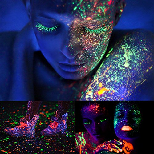 ETEREAUTY UV Glow Blacklight Face and Body Paint 1-oz, Set of 8 Tubes with 6 Brushes and a Mixing Palette by  (Image #5)