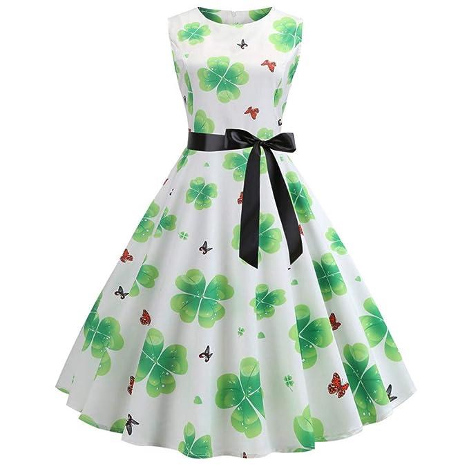 f3a09f16afd87 St. Patrick's Day Women Vintage 1950s Retro Shamrock Sleeveless Prom ...