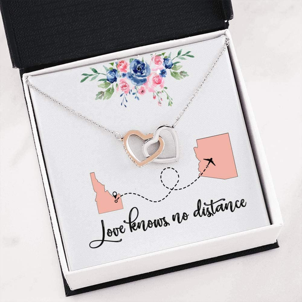 Cute Romantic Gift Interlocking Heart Necklace for Wife Girlfriend - Idaho to Arizona Love Knows No Distance Luxury Stainless Steel Heart Necklace Embellished with Cubic Zirconia Stones 61rspcMlWxL
