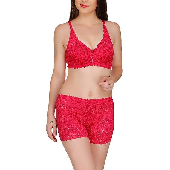 4189e06d8c ARUBA Eva Lace Bra   boy Shorts Set - Pink  Amazon.in  Clothing    Accessories