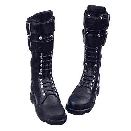 Image Unavailable. Image not available for. Color  MagiDeal Black 1 6 Scale  lace Up Buckle Flat Long Boots Shoes for 12 inch fa6aa4b54550