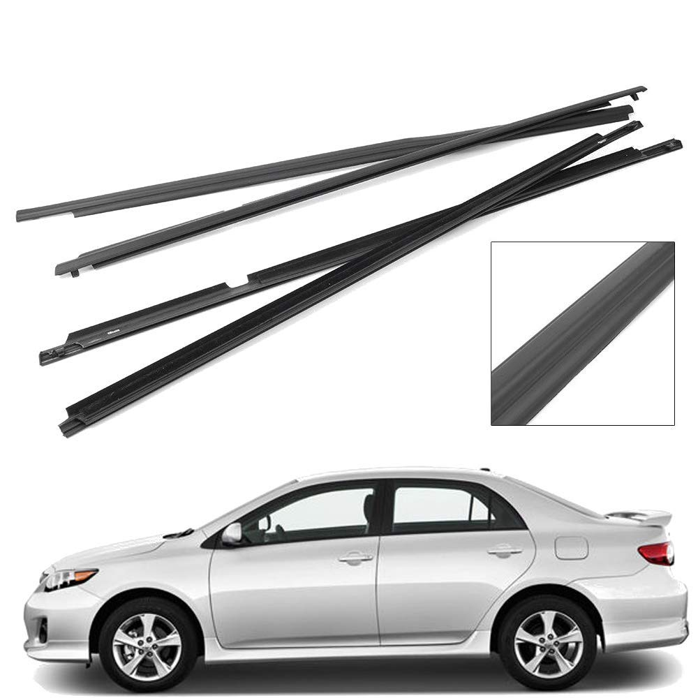 MotorFansClub Black Auto Door Belt Molding Weather Strip for Toyota Corolla 2007 2008 2009 2010 2011 2012 2013 Pack of 4, Gift for Christmas