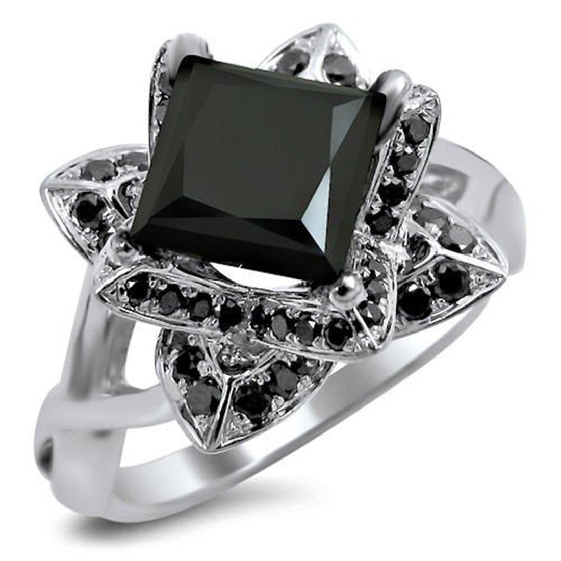 Smjewels 2.0 Ct Black Princess Cut Lotus Flower Sim.Diamond Engagement Ring 14K White Gold Fn
