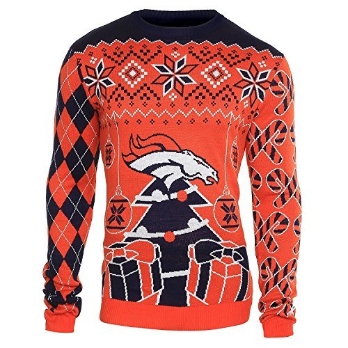 FOCO NFL Denver Broncos Mens Holiday Ugly Christmas Tree & Ornament Sweaterholiday Ugly Christmas Tree & Ornament Sweater, Team Color, XX-Large