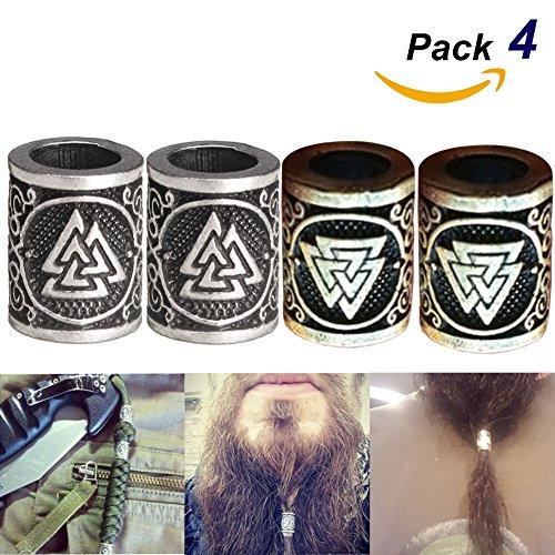 4 Piezas De Metal Vikingo Noruego Runes Encantos Del Grano Plata Dreadlock Barba Del Pelo Anillo Para Diy Hallazgos Pulseras...