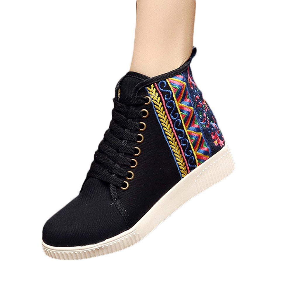Insun Zapatos de Cordones Para Mujer Alpargatas de Mujer con Bordado 35 EU|Negro