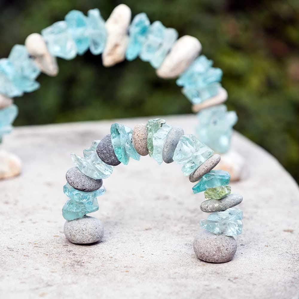 Mini Stone Glass Arch Rock Cairn Sculpture Garden Decoration Zen Garden