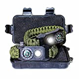 TRSCIND Survival Paracord Bracelet Camping Safety Set of 2 - Hiking Multi Tool with LED Light, Emergency Whistle, Working Compass Bracelet, Camp Fire Starter 6-in1 Set