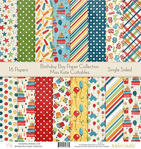 (Pattern Paper Pack - Birthday Boy - Scrapbook Premium Specialty Paper Single-Sided 12