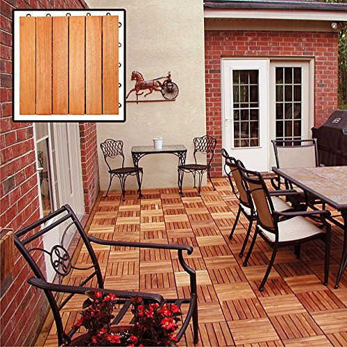 (Composed of Eucalyptus Wood Grown Elevated by Plastic Feet Unique Patterns with Interchangeable Styles Eucalyptus 6-slat Snapping Deck Tiles (Box of 10))