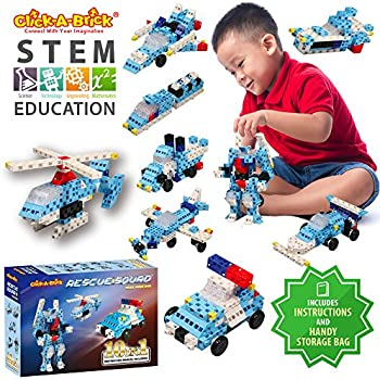 Click-A-Brick Rescue Squad 100pc Building Blocks Set | Best STEM Toys for Boys & Girls Age 4 5 6 Year Old | Kids 3D Creative Puzzle Fun | Top Educational Learning Gift For Children Ages 4 - 12