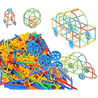Straw Constructor STEM Building Toys 350 Piece with WheelsConnectors Building Sets Colorful Plastic Enginnering Toys-Safe for Kids-Develops Motor Skills-Construction Blocks- Best Gift for Boys & Girls