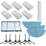 Accesorios de repuesto para aspiradora robótica ILIFE V3 V3s V5 V5s Pro – 6 filtros + 6 cepillos laterales + 3 paños + 1 filt