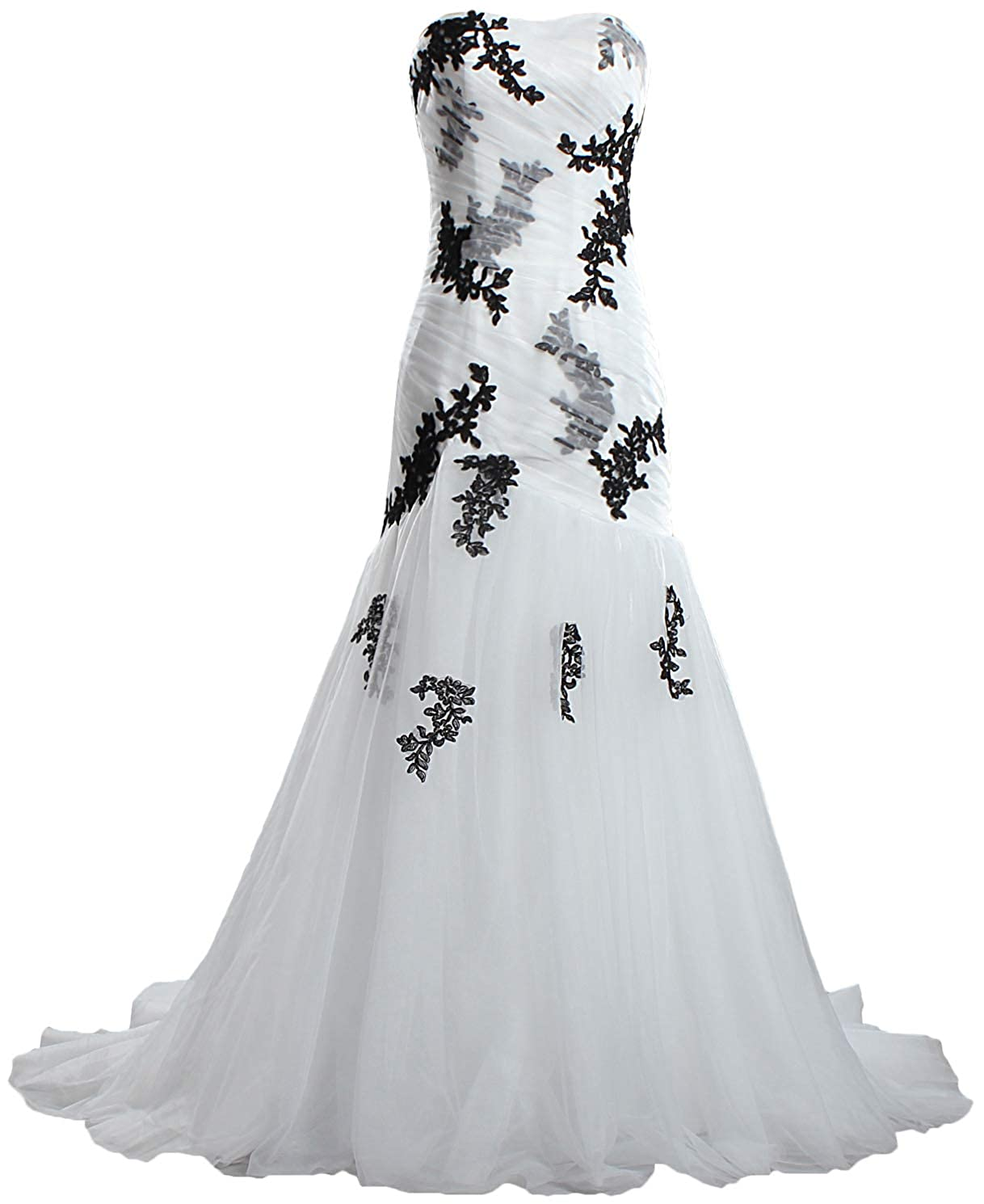 Ivory ANTS Women's Strapless Black Lace Wedding Dresses Mermaid Bridal Gown