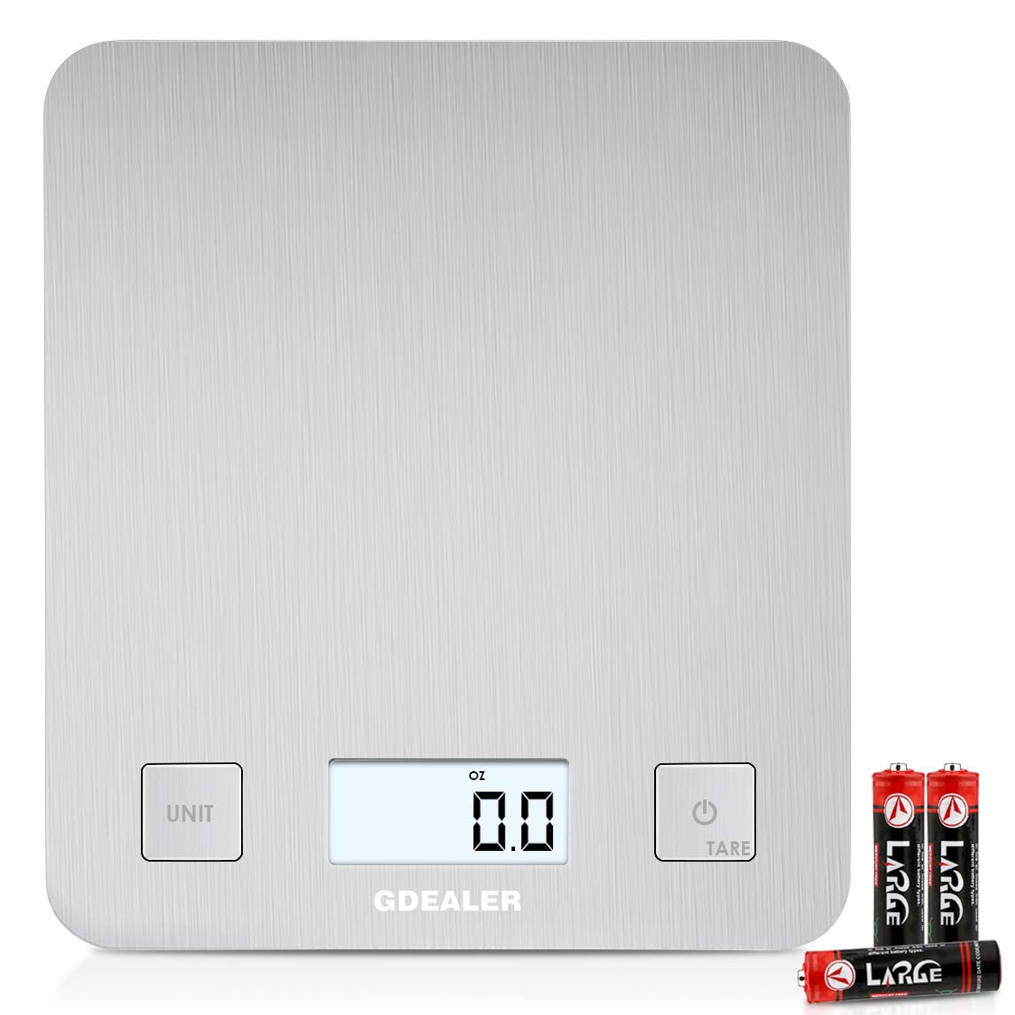 GDEALER Digital Food Scale,11lb/5kg Kitchen Scale with Large Stainless Steel Platform Back-lit LCD Display,Electronic Multifunctional Weight Scale for Dieting Cooking Baking,3 Batteries Included