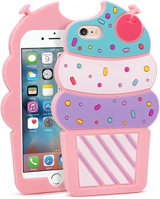 YONOCOSTA iPhone 6 Case, iPhone 6S Case, 3D Cute Cartoon Cherry Cupcakes Ice Cream Shaped Soft Silicone Case Bumper Back Cover for iPhone 6 / 6S (4.7